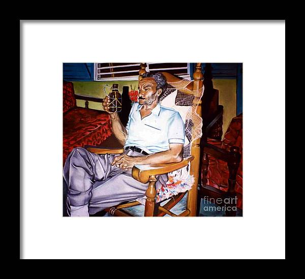 Portrait Framed Print featuring the drawing Alejandro by Yxia Olivares