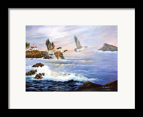 Aleutian Geese /lighthouse Framed Print featuring the painting Aleutian Geese With Lighthouse by Lynne Parker