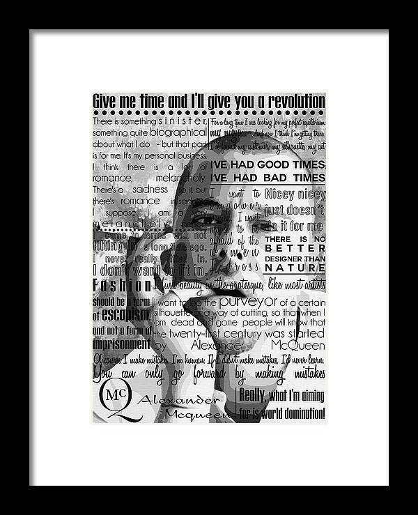 Alexander Mcqueen Fashion Motivational Inspirational Independent Quotes  Framed Print