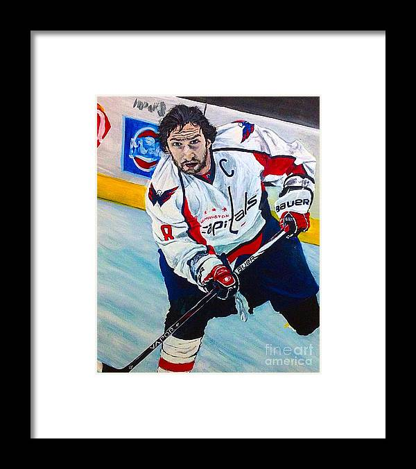 Hockey Framed Print featuring the painting Alexander Ovechkin by Alexander Gatsaniouk