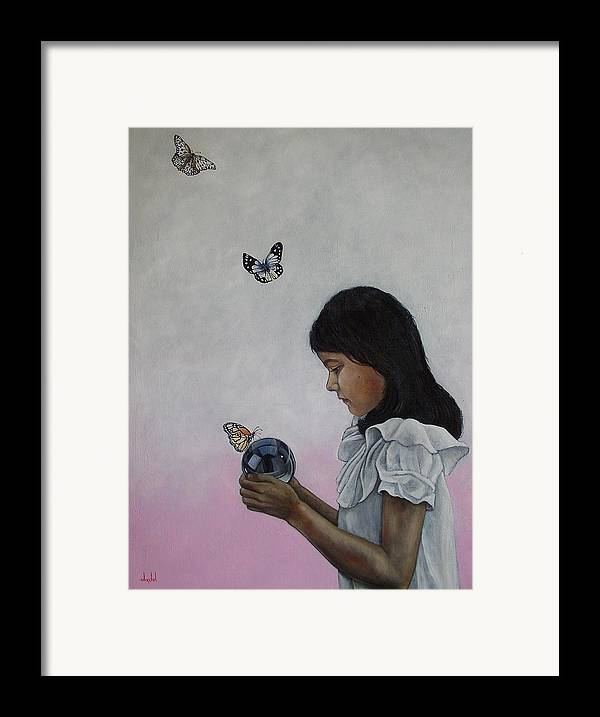 Butterflies Framed Print featuring the painting Alexandria Of The Butterflies by Ixchel Amor