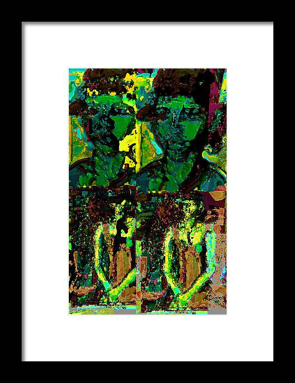 Human Composition Framed Print featuring the mixed media Alexanrdia by Noredin Morgan