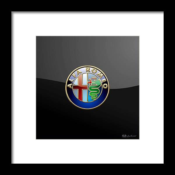 Wheels Of Fortune� Collection By Serge Averbukh Framed Print featuring the photograph Alfa Romeo - 3 D Badge On Black by Serge Averbukh