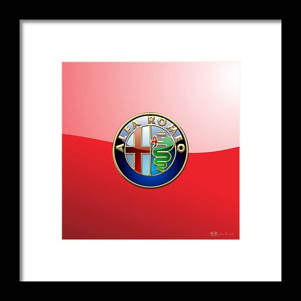 Wheels Of Fortune By Serge Averbukh Framed Print featuring the photograph Alfa Romeo - 3d Badge on Red by Serge Averbukh
