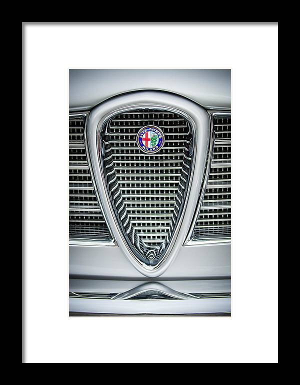 Alfa-romeo Framed Print featuring the photograph Alfa-romeo Grille Emblem by Jill Reger