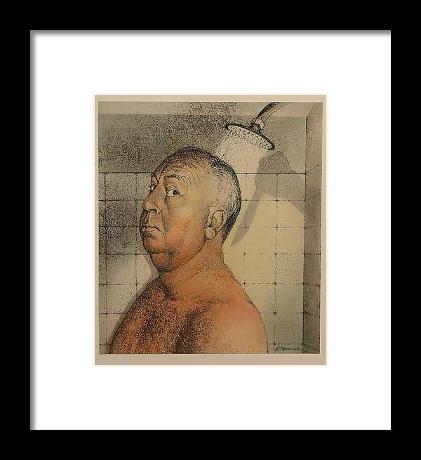 Portrait Framed Print featuring the painting Alfred Hitchcock The Shower by Gary Kaemmer