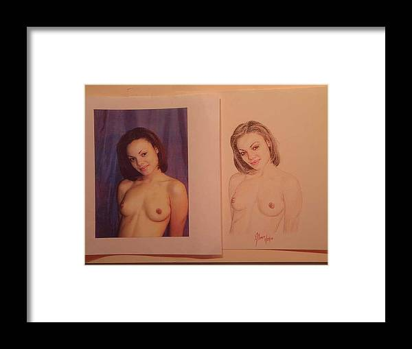 Nudes Framed Print featuring the drawing Algelica by Benito Alonso