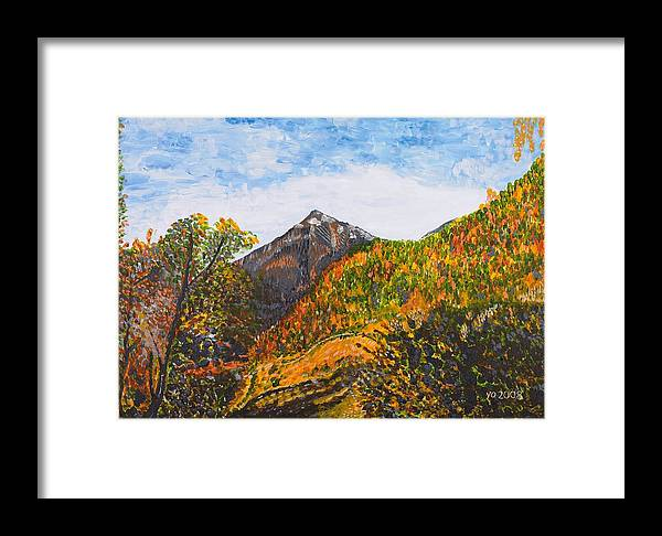 Landscape Framed Print featuring the painting Algund View by Valerie Ornstein