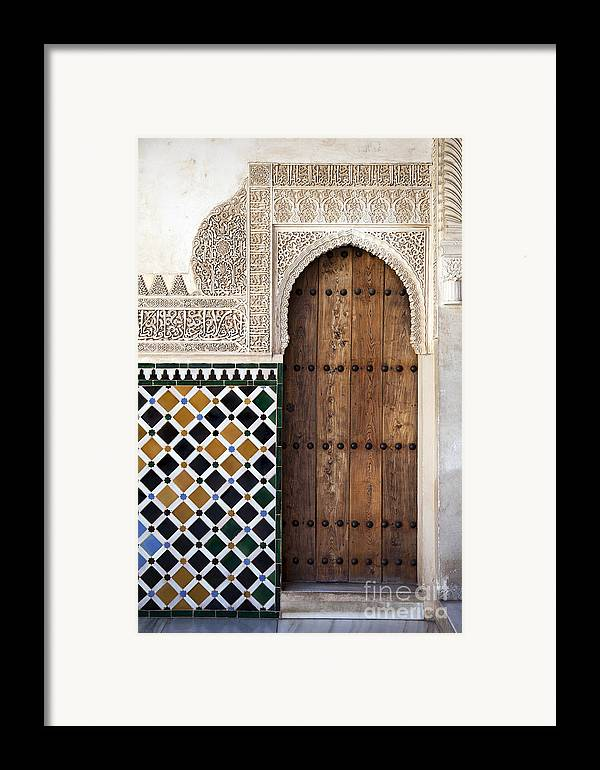 Alhambra Framed Print featuring the photograph Alhambra Door Detail by Jane Rix