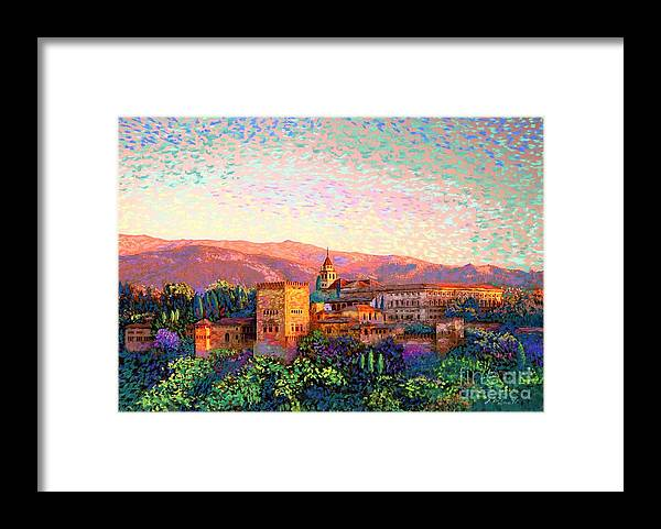 Spain Framed Print featuring the painting Alhambra, Granada, Spain by Jane Small