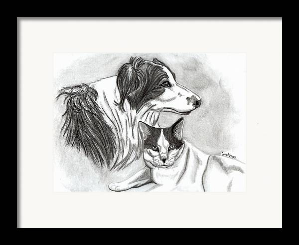 Charcoal Framed Print featuring the drawing Ali And Mickey by Crystal Suppes