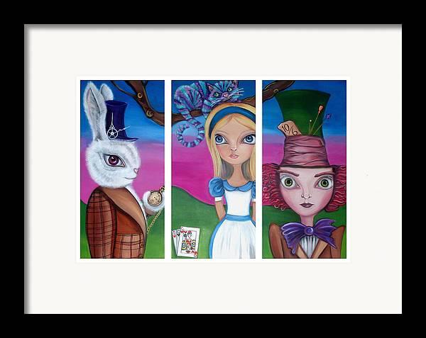 Alice In Wonderland Framed Print featuring the painting Alice In Wonderland Inspired Triptych by Jaz Higgins
