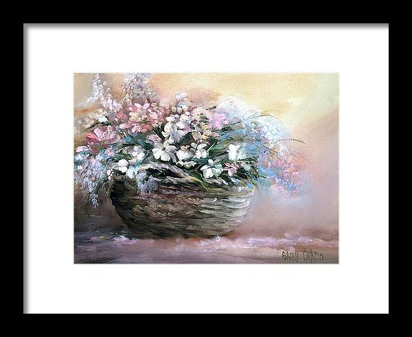 Flowers. Bouquets Framed Print featuring the painting Alice's Bouquet by Sally Seago
