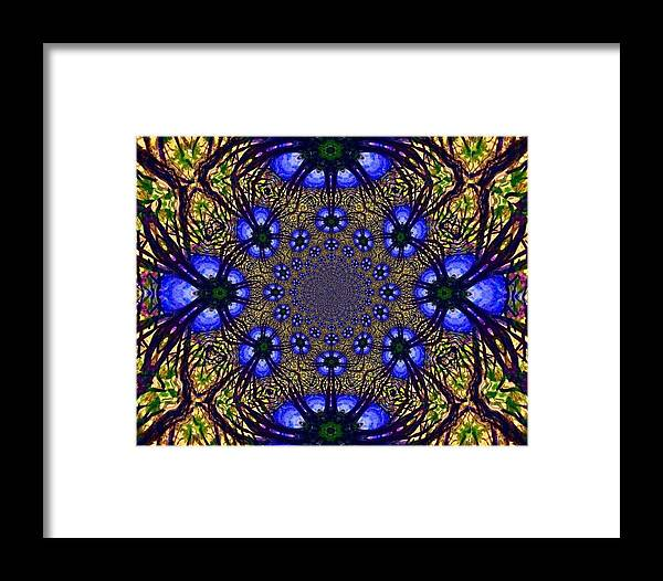 Blue And Yellow Framed Print featuring the digital art Blue Abstract by Anne Sands