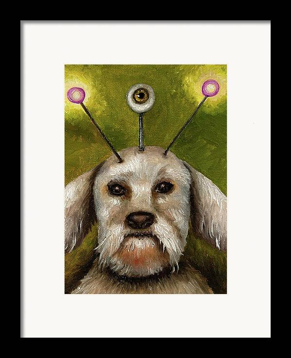 Dog Framed Print featuring the painting Alien Dog by Leah Saulnier The Painting Maniac