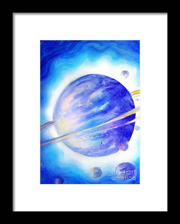 Blue Light Framed Print featuring the painting Alien Planet. Blue Light Of Hope by Sofia Metal Queen