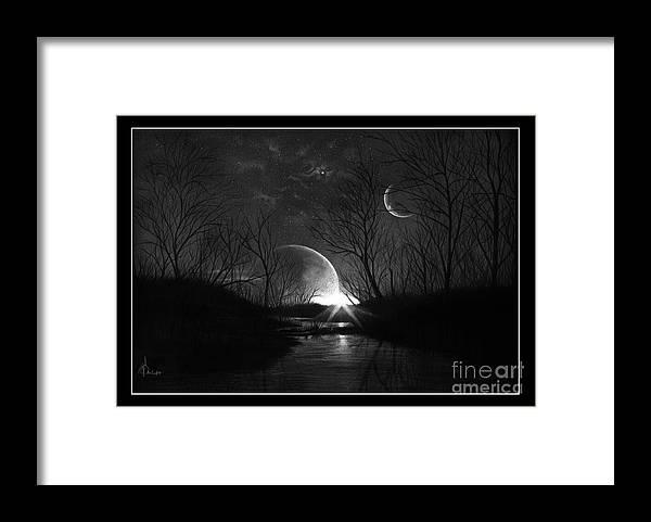 Pencil Framed Print featuring the drawing Alien Skies by Murphy Elliott