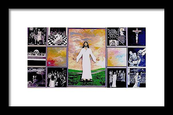 Jesus Framed Print featuring the relief All - 1 by Richard Hubal