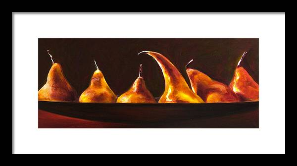 Pears Framed Print featuring the painting All Aboard by Shannon Grissom