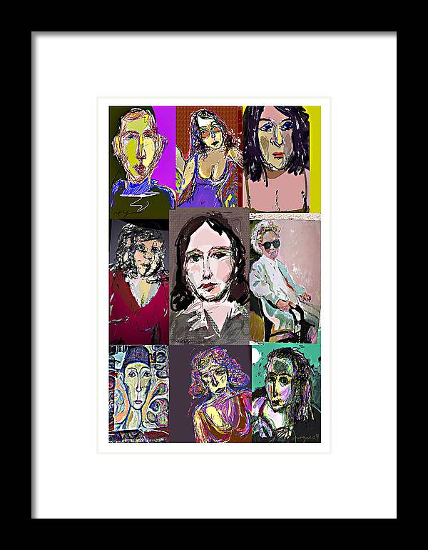 Faces Framed Print featuring the painting All About Faces 6 by Noredin Morgan
