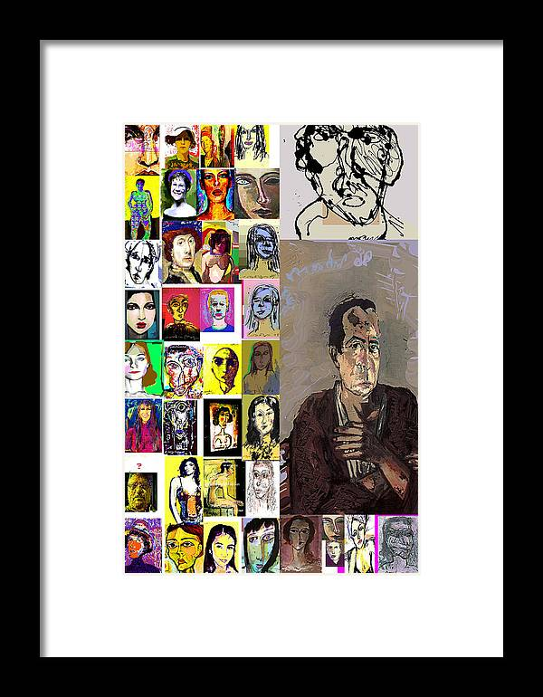 Faces Framed Print featuring the mixed media All About Faces by Noredin Morgan
