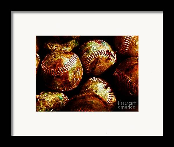 Baseball Framed Print featuring the photograph All American Pastime - A Pile Of Fastballs - Electric Art by Wingsdomain Art and Photography