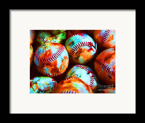 Baseball Framed Print featuring the photograph All American Pastime - Pile Of Baseballs - Painterly by Wingsdomain Art and Photography