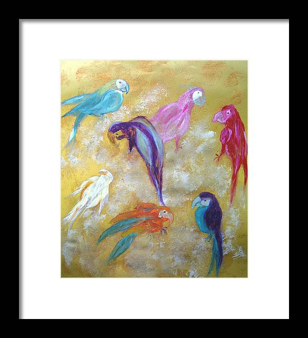 Exotic Framed Print featuring the painting All Dressed Up - Parrots by Michela Akers