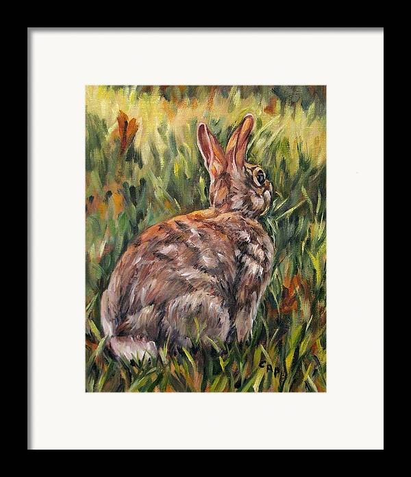 Rabbit Framed Print featuring the painting All Ears by Cheryl Pass