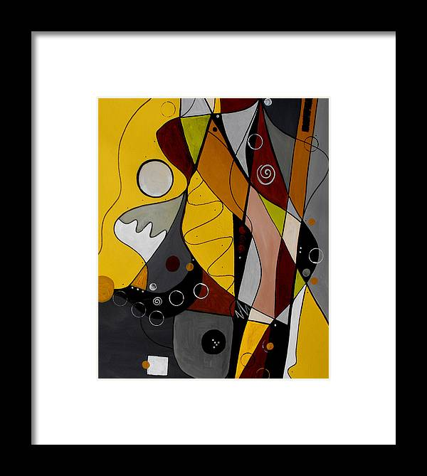Abstract Framed Print featuring the painting All Hands On Deck by Ruth Palmer