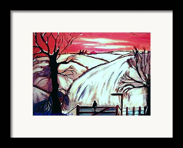 Landscape Framed Print featuring the painting All Is Calm..... by Rusty Woodward Gladdish