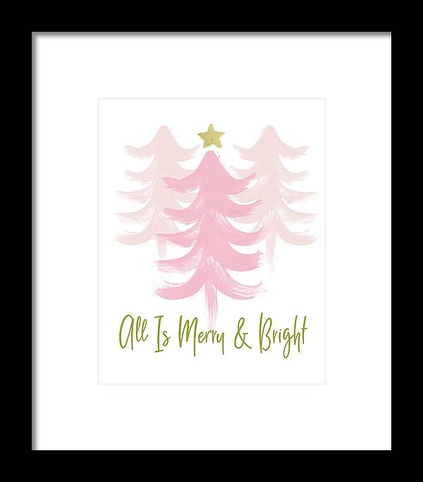 Merry And Bright Framed Print featuring the mixed media All Is Merry And Bright- Art By Linda Woods by Linda Woods