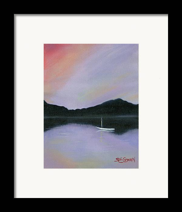 Landscape Framed Print featuring the painting All Is Still by SueEllen Cowan