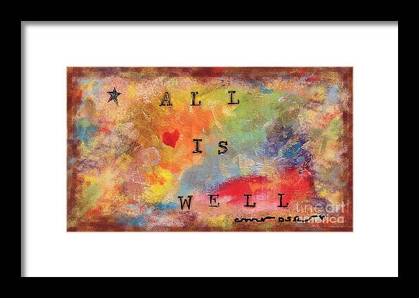 Bright Framed Print featuring the mixed media All Is Well 2 by Michele Rose