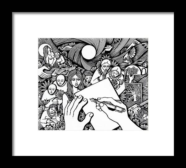 Drawing Framed Print featuring the drawing All Love Letters Are Ridiculous by Jose Alberto Gomes Pereira