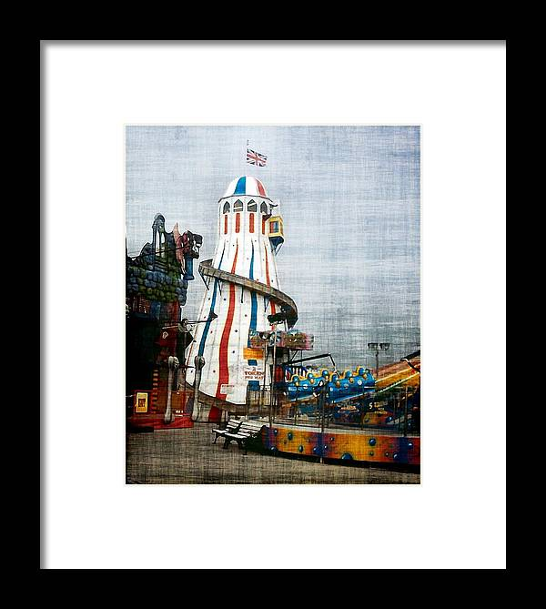 Brighton Uk Pier Sussex England Seaside Fairground Framed Print featuring the photograph All Quiet On The Pier by Susan Epps Oliver