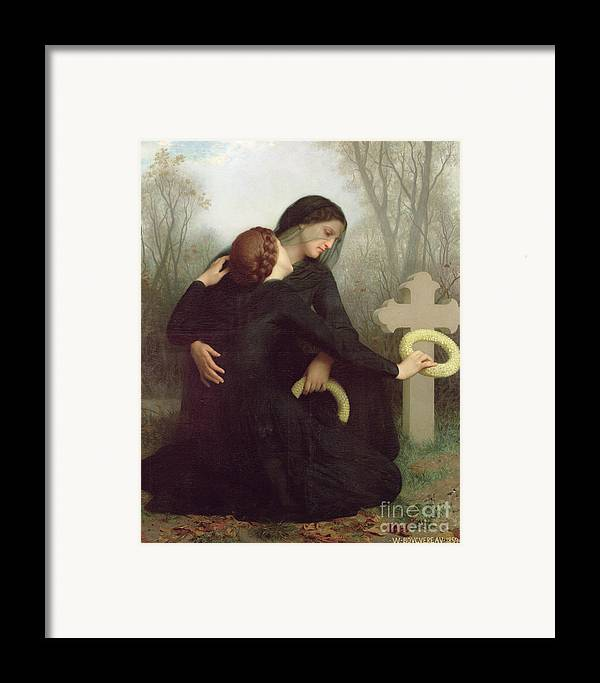 Le Jour Des Morts (all Saints Day) 1859 (oil On Canvas) By William-adolphe Bouguereau (1825-1905) Le Jour Des Morts; Female; Widow; Mourning; Grave; Cemetery; Gravestone; Tombstone; Black Veil; Child; Mother; Daughter; Sadness; Sorrow; Day Of The Dead; 1 November; Grave Framed Print featuring the painting All Saints Day by William Adolphe Bouguereau