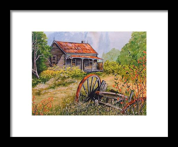 Rustic Framed Print featuring the painting All That Remains by Val Stokes