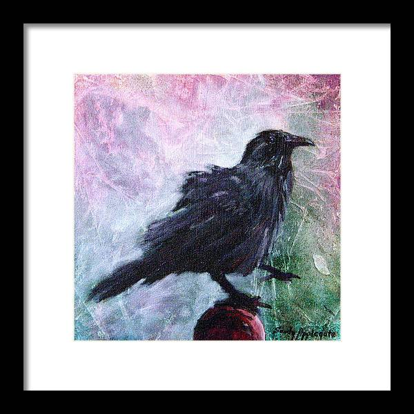 Raven Framed Print featuring the painting All Undaunted by Sandy Applegate