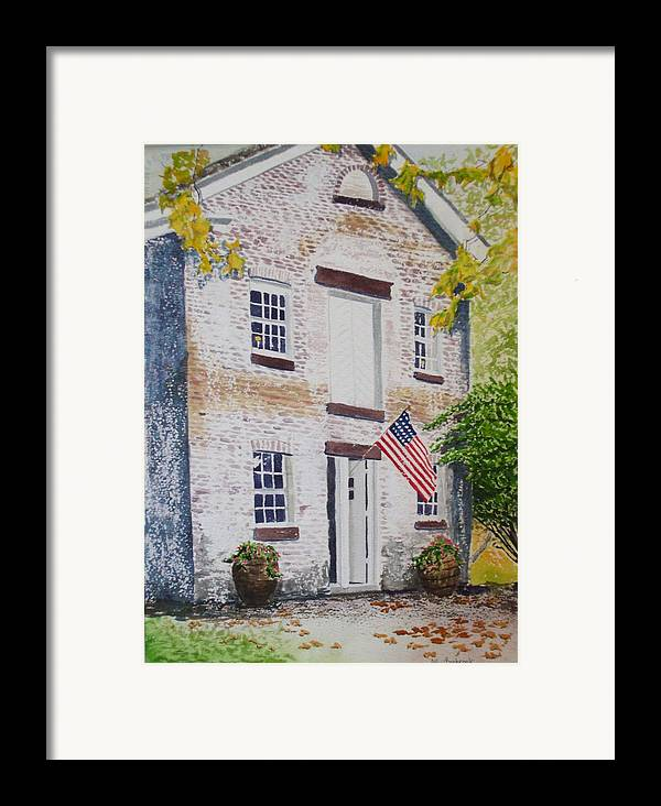 Old Buildings Framed Print featuring the painting Allaire Carpenter Shop by Ally Benbrook