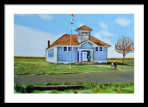 Buildings; School; Landscape; African American Community; Historical State Park; Framed Print featuring the painting Allensworth School by Howard Stroman