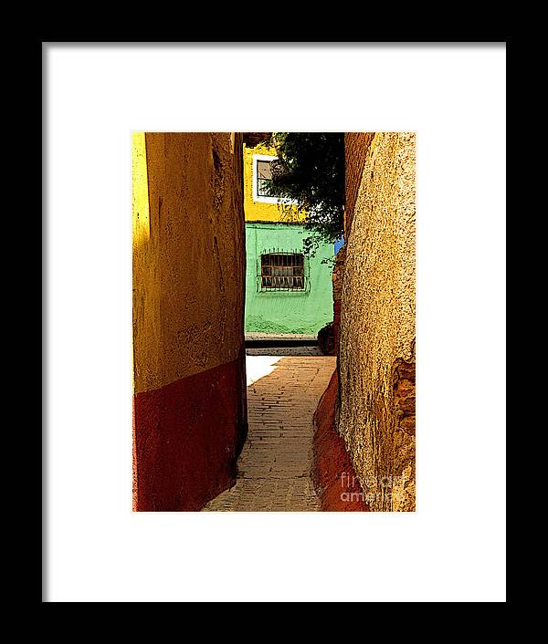 Darian Day Framed Print featuring the photograph Alley With The Green Casa by Mexicolors Art Photography