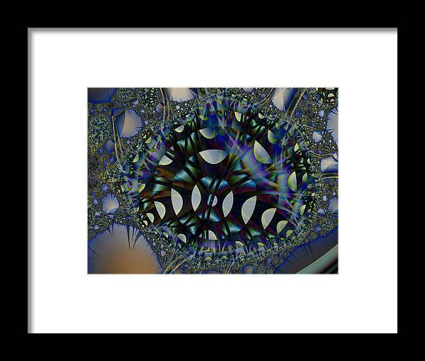 Fractal Framed Print featuring the digital art Allien Gears by Frederic Durville