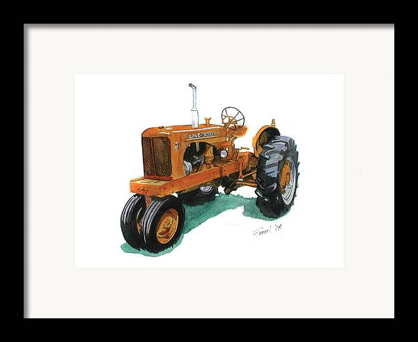 Allis Chalmers Tractor Framed Print featuring the painting Allis Chalmers Tractor by Ferrel Cordle