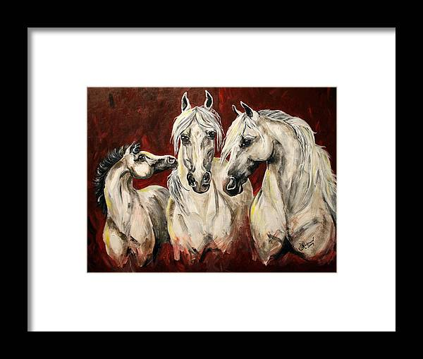 Horse Colt Lipizzan Mare Stallion Foal Framed Print featuring the painting Allure by BJ Redmond