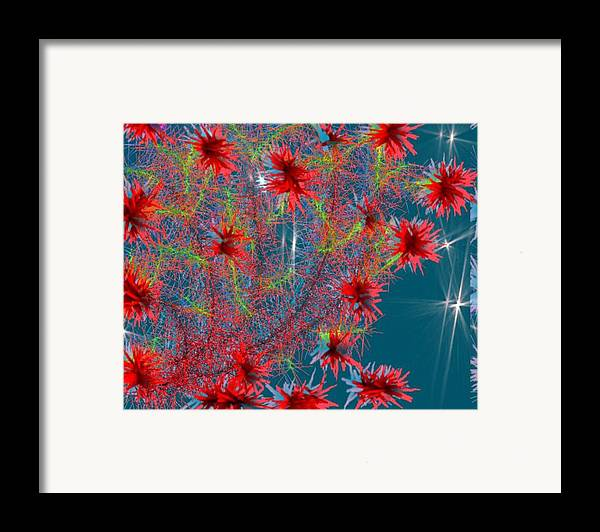 Flowers.evening.stars.sky.corall Tree.transparent Evening. Framed Print featuring the digital art Almog-corall Tree by Dr Loifer Vladimir