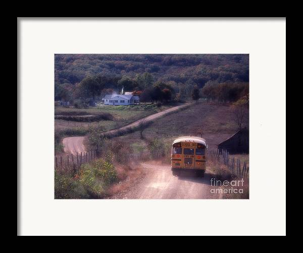 Rural School Bus Framed Print featuring the photograph Almost Home by Garry McMichael