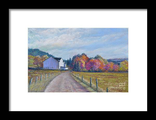 Paintings Of Farms In Fall Framed Print featuring the painting Almost Home by Penny Neimiller