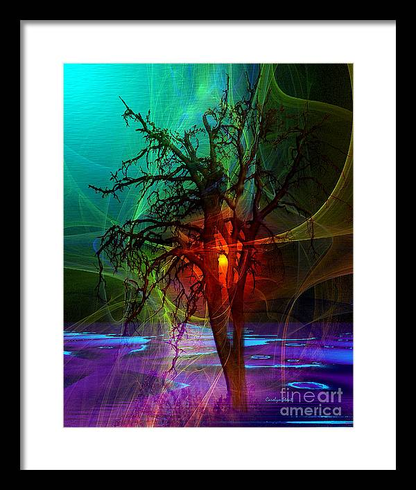 Abstract Fractal Sunset Tree Colors Framed Print featuring the digital art Almost Sunset by Carolyn Staut
