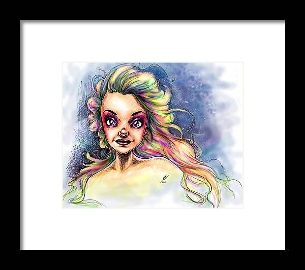 Woman Framed Print featuring the drawing Almostrainbows by Mirja Timm